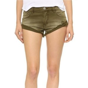 Free People Olive Green Denim Slouch Shorts 28